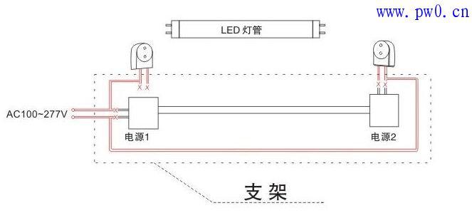 1,传统日光灯管有两种接线方式:电子镇流器,电感镇流器.接线图如下