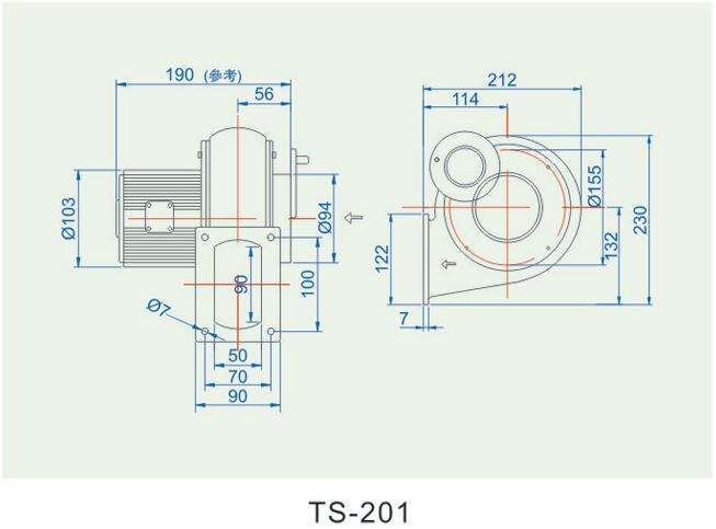 低压鼓风机TS-201尺寸图
